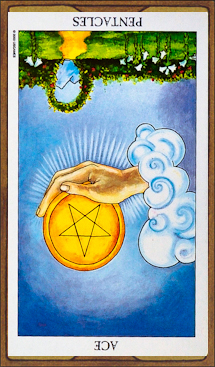 Ace of Pentacles (reversed)